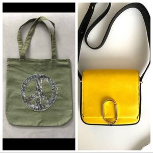 Lot of 2 Bags: Tote and Crossbody Bag Green Yellow